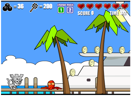 Castle Cat 2: laat de kat zoveel mogelijk muntjes verzamelen en ontwijk je tegenstander.